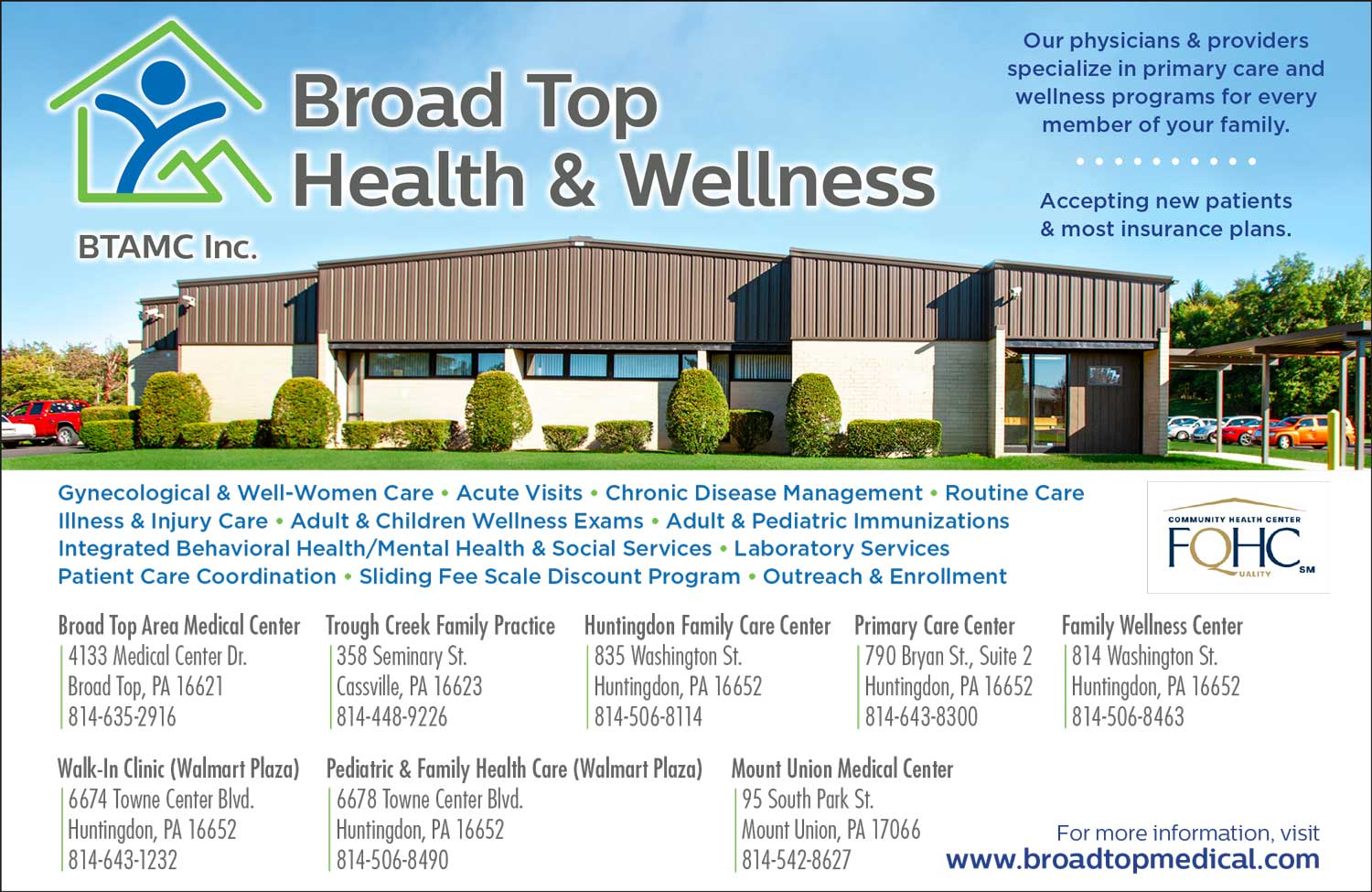 """<center>Broad Top Health & Wellness