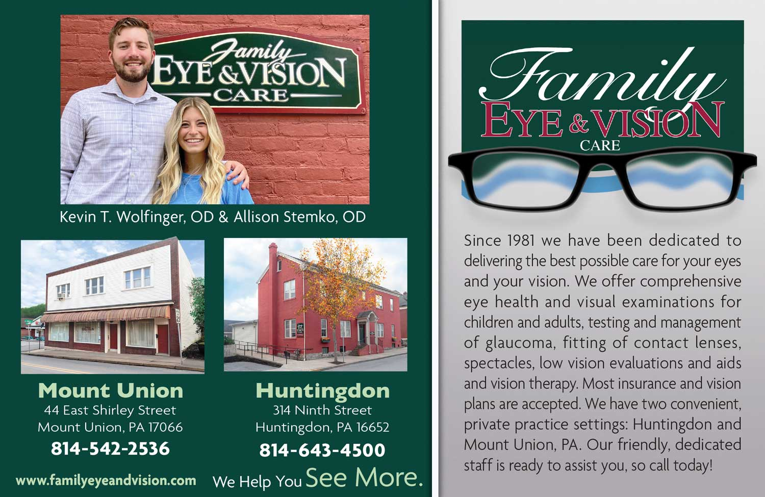 """<center>Family Eye & Vision Care 